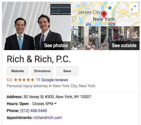 well optimized Google Business listing for lawyer