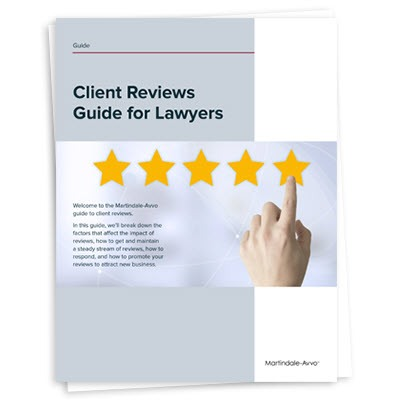 Cover page for client reviews guide for lawyers
