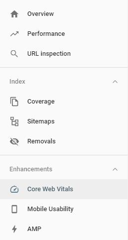 Where to find Core Web Vital Metrics in Google Search Console
